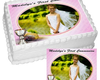 Personalized Edible Icing Frosting Image Sticker Decal Decoration Photo Cake Topper Baptism First Holy Communion (2 Sizes)