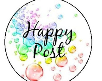 happy post stickers - bubbles