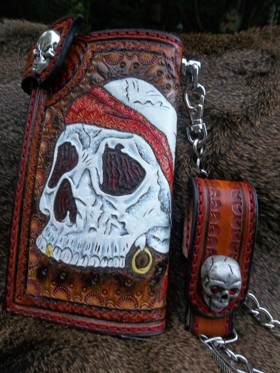 Western Swag, Sugar Skull Chain Leather Wallet for Bikers and Men - Great Father's Day Prese								<a href=