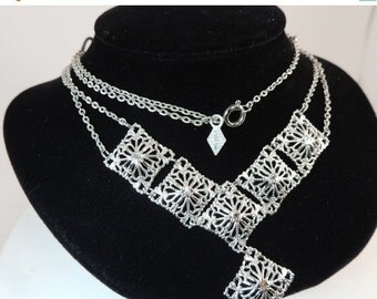 Sizzlin Summer Sale Sarah Coventry Open Work Two Strand Necklace Vintage Jewelry