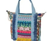 Hippie tote bag retro design with fringe and tassels - multi colored handbag one of a kind - summer purse Ibiza - women gift handmade