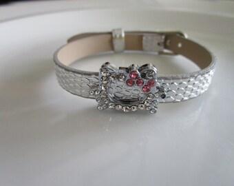 Kat charm silver watch band bracelet - gift children - gift girls - bracelet girls - children bracelet - cat bracelet - cat jewelry - kitty