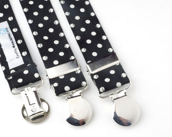Black with White Polka Dots Adjustable Suspenders