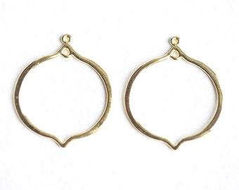 Vermeil Gold Lantern Shape Chandelier Earring Frame Findings - 18k gold plated over sterling silver, open frame earrings