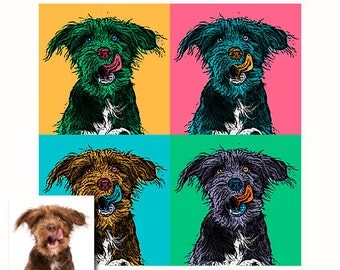 Set of four Custom pop art portraits from your picture - digital - Spring