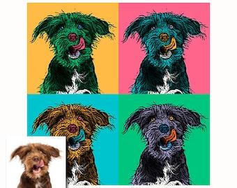 Printemps - Set de 4 portraits pop art personnalisés - portrait digital - portrait chien - portrait chat