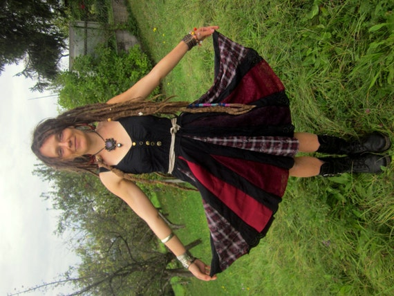 patchwork gypsy dress black red halloween festival costume