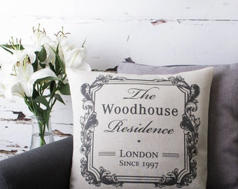 Personalised Vintage Style Family Home with Name Handmade Cushion Pillow Cover