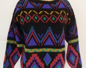 Sweater Colorful 80's Oversize Crewneck Pullover 3/4 Length Sleeve Ski Sweater by Doris Skis Tribal Pattern Size M Made in USA