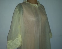 Pin Up Lingerie Sheer Nylon Lemon Yellow Nylon Robe 60's Burlesque Bed Jacket Peek a Boo Cover Up Made by Snowdon Size L