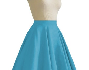 JULIETTE Aqua Blue Rockabilly Swing Rock 'n Roll Skirt//Full Circle Black Skirt//Retro Mod 50s style Skirt//Party Skirt XXS-3X