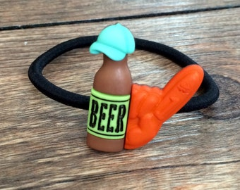 Beer Hair Tie-Beer Elastic Band-Beer Hair Band-Beer Ponytail Holder-Beer Hair Accessory-Tailgating Hair Tie-Tailgating Bow-Brewery Bow
