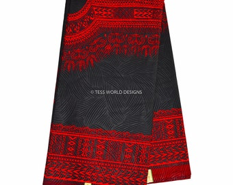 Superior High quality Black and Red Java Dashiki Print/ African Fabric/ Dashiki Fabric/ African Print/ Supplies/ Large design 6 yards WP632