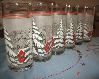 Christmas 6 glasses winter theme.