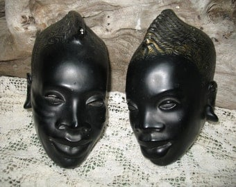 Plaster wall black face.