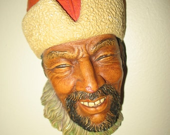 Plaster figurine. Bossons congleton England 1960, human face, statue, wall mask.