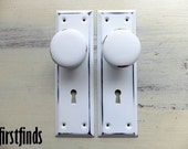2 Door Knobs and Reclaimed Backplate Vintage Metal Kitchen Pantry Cupboard Pull Wood Handle Cabinet Unique Hardware Armoire DETAILS BELOW