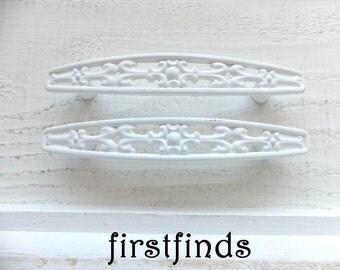 6 Shabby Chic White Filigree Kitchen Cabinet Handles Metal Painted Furniture Hardware Cupboard Door Pulls 3inch ITEM DETAILS BELOW
