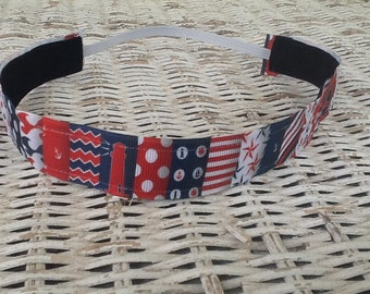 Blue Red Nautical Headband - Girls Patchwork Anchor Headband