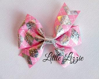 Pink Argyle pinwheel hair clip diamond girl toddler