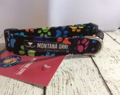 Dog Collar....black with colorful paws