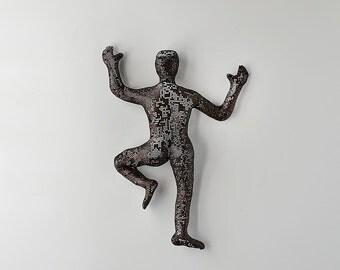 Climbing Figure, metal wall art, wire mesh sculpture, wall hanging, Metal art, abstract art