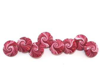 Lentil beads, Focal beads, Polymer clay swirl beads in red, pink and white, unique pattern, set of 8 elegant red beads