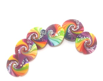 Colorful swirl lentil beads with tiny silver dots, polymer clay beads, unique pattern, set of 6 elegant focal beads