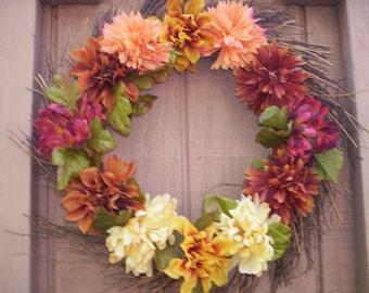 Rustic fall wreath/Autumn wreath/Fall door wreath/Fall flower wreath/Autumn flower wreath/Fall decor/Country decor/Shabby Fall flower wreath