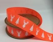 2M - High Quality Deer & Tree Grosgrain Neon Orange Ribbon, 25mm wide, 2 metres