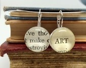 Make Art Earrings, Gifts for Artists, Book Page Earrings, Artist Jewelry, Artist Earrings