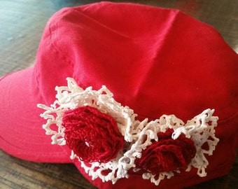 Shabby Fab Red Cadet Cap with Handmade Flowers