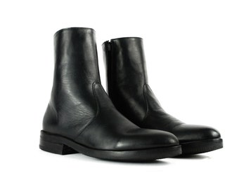 WHITMAN Black Leather Side Zip Ankle Boots. (All Sizes)