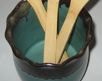 Pottery Spoon Jar in Evergreen, Handmade Utensil holder