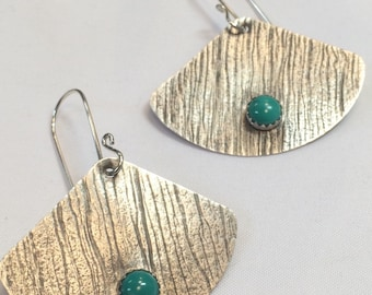 Turquoise earrings - turquoise jewelry - gemstone earrings - geometric jewelry - turquoise dangle and drop earrings - silver and turquoise