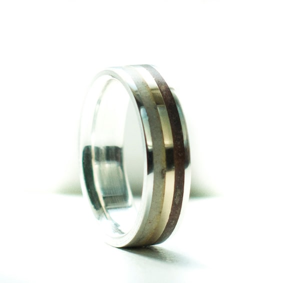 Mens Wedding Band Elk Antler Amp Wood With 10K Gold Inlay Ring