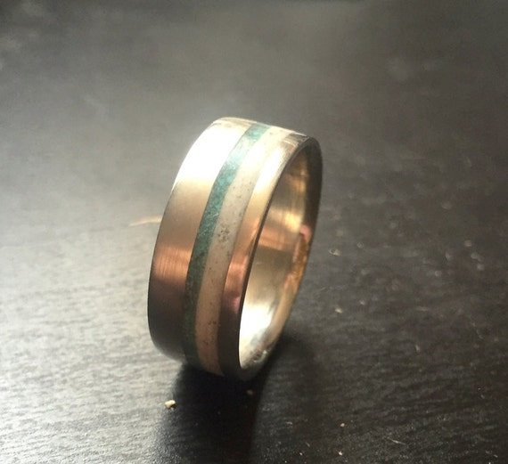 Mens Wedding Band Elk Antler And Turquoise Ring Staghead