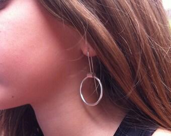 Silver earrings open circle - dangle and drop earrings-hoop earrings- hook ring earrings - gift for her -minimalist jewelry -circle earrings