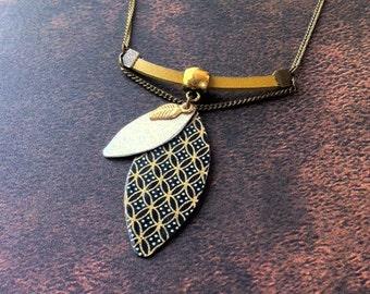 Boho Necklace - leather & brass - paper jewelry -vintage pattern - golden necklace - pendant - locket