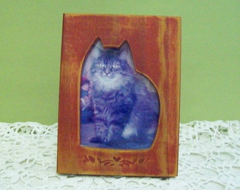 Red, Wooden Frame Purr-fect for Your Cat Photo