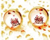 Valentine's day earrings-hearts earrings-post earrings-cabochon earrings- valentines's gift for her-small earrings