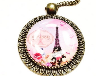 Paris necklace- eiffel tower necklace- romantic jewelry- gift for her- french words necklace