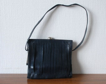 Vintage Navy Leather Handbag