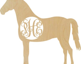 Wooden Horse shape with a monogram insert Western style decor rustic wedding horse lover