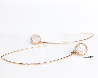 Cracked Quartz Dangle Earrings / Rose Gold Modern Bridal Jewelry / Blush Quartz Dangle Earrings / Sterling Silver Marquise Earrings / Gifts