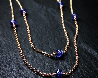 Genuine Tanzanite Station Necklace / Long Gemstone Layering Necklace / December Birthstone Necklace / Gift for Her / Rope Length Necklace