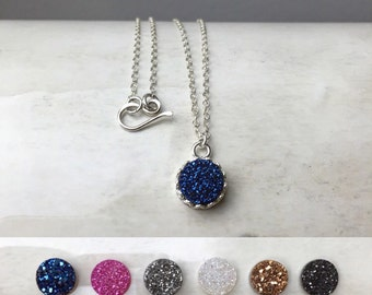 Dainty Druzy Necklace / Sterling Silver Layering Necklace / Sapphire Blue Druzy Necklace / Black Druzy Necklace / Gift for Mom