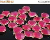 sale AAA hot pink chalcedony heart gold bezel link   conncetor-gold gemstone bezel vermeil silver   link connector-2Pc18x15mmNo.711