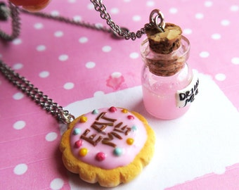 Eat me Drink me Alice in Wonderland Friendship necklaces - food jewelry, alice in wonderland necklace, cookie necklace, friendship gift