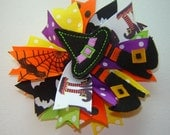 NEW Girls Toddlers Infants Halloween Double Layer Boutique Spike Bow with Witch's Hat, Boots and Stockings Embroidered Feltie